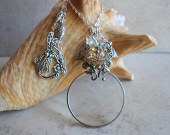 Magnifying Glass Necklace, Magnifying Glass Pendant, Morning Glory Pendant, Monocle Pendant, Butterfly Necklace, Magnifier, Magnifying Loupe
