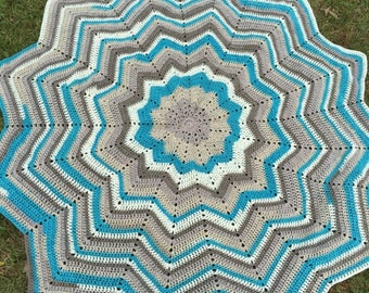 Ready to ship! 12 pointed star, star, flower, afghan, blanket