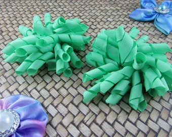 Korker Bow Hair Clip - Set of 2 - Light Greens