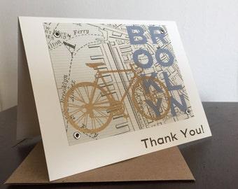 Brooklyn Karte und Fahrrad - 24-Pack Siebdruck Dankeschön-Karten