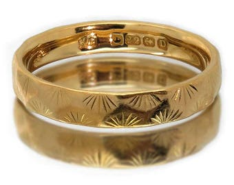 Art Deco Wedding Ring | 1928 Engraved Vintage Wedding Band In 22ct Gold | Stackable Ring | Size UK M 1/2 / USA 6.1/2
