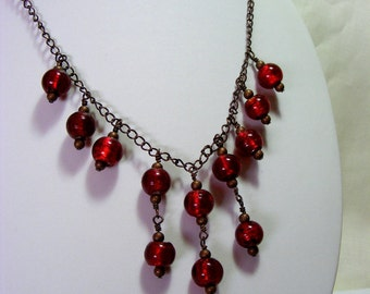 Red Glass and Copper Chain Necklace