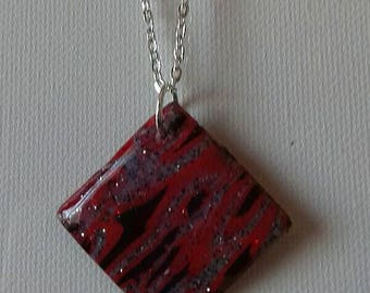 Square with unique pattern polymer clay necklace