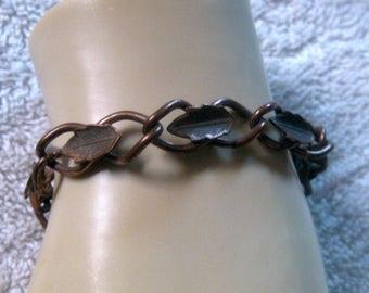 Copper Leaves Bracelet Links of Copper Vintage