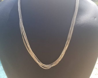 Beautiful Navajo Made 18 inch Liquid Silver Sterling, 10 strand necklace Stunning