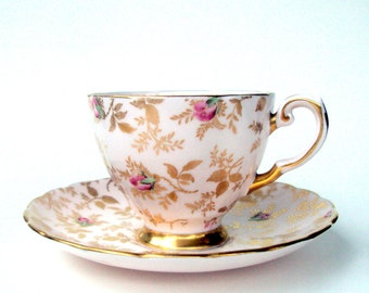 Vintage Tuscan English Bone China Teacup and Saucer, Sunshine Pattern, Floral, Gold, Roses Chintz, 1950, England, Home Dining,Collectible