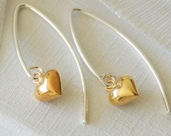 Tiny Gold Heart Wire Earrings (ERO95 - box) ~ Wedding, Anniversary, Bridesmaid, Birthday Earrings