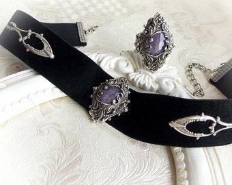 Amethyst gemstone jewelry set romantic gothic bundle baroque choker victorian jewelry set evening bridal jewelry