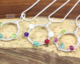 Mothers Day Birthstone Jewelry Dainty Circle Necklace Family Pendant Eternity Personalized Custom Mom Jewelry New Mom Push Gift Push Present