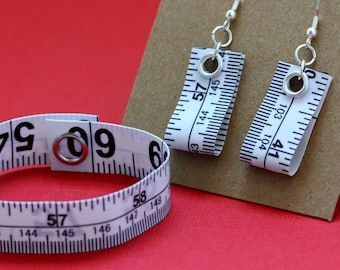Tape Measure Jewelry Set in White - Earrings and Bracelet - Statement Jewelry created with Upcycled Measuring Tape
