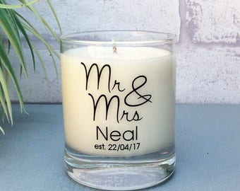Wedding Gift, Mr and Mrs, Just Married, Wedding candle, Wedding gifts for couples, Scented Candle, Personalised Candle