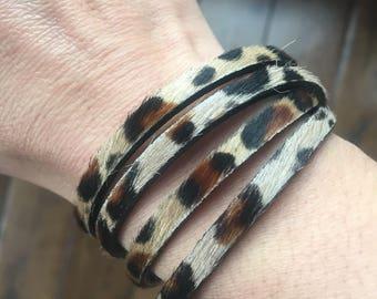 Leather Wrap Bracelet - Leopard Print Leather Wrap Bracelet - Double Wrap Leather Bracelet - Antique Gold Magnetic Closure Bracelet