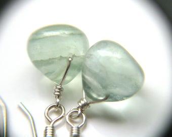 Green Fluorite Earrings . Blue Green Gemstone Earrings . Sterling Silver Wire Wrapped Briolette Earring Teardrop