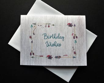 """Birthday Wishes note card, blank inside, 4"""" x 5-1/4"""", Native American, Feathers, Beads, Stationery"""