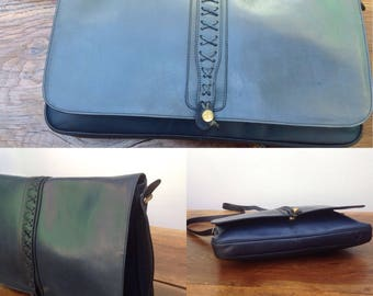 Made in Italy |80s leather Pouch | Big Pouch | Tracolla e Pouch Vintage | Navy leather Bag | Vintage Pouch | leather pouch | italian leather