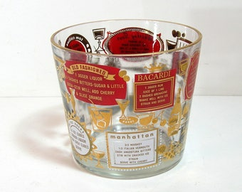 Mid Century Ice Bucket Red and Gold with Drink Recipes