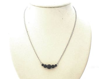 Lava stone bar necklace, black lava stones, stainless steel chain and finishing, statement necklace, lava stone, lavastone, essential oil