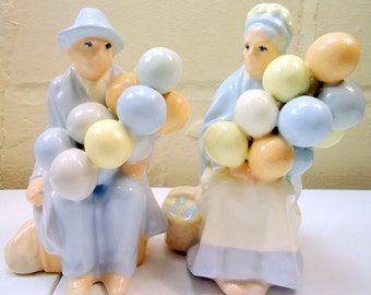 70s French Balloon Man and  Woman Bookends