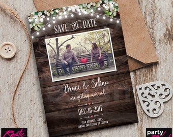 Rustic Save The Date, Photo Save The Date, Printable Save The Date, Hanging Lights Save The Date, STD44