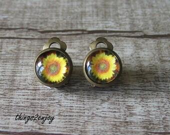Clip Earrings-Sunflower