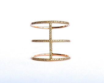 14k Rose 3 Row Diamond Ring