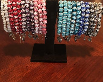 Beautiful, sparkling stretch bracelets with charms!