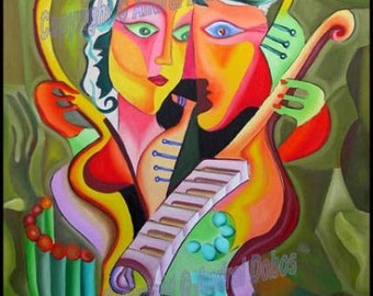 "Hand Painted Art Oil Painting ""Harmony and Love"" Modern by DOBOS"