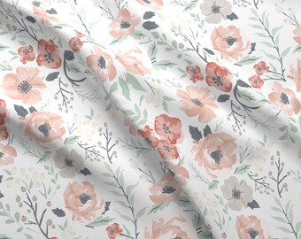 Baby Girls Watercolor Flower Fabric - Soft Meadow Floral By Sweeterthanhoney - Girl Nursery Decor Cotton Fabric By The Yard With Spoonflower