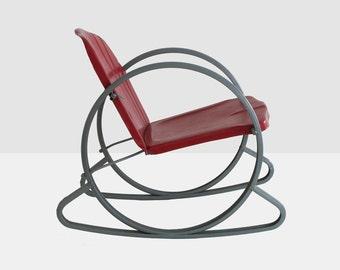 vintage child's metal rocking chair, vintage child's lawn chair,  scallop back lawn chair, child's scallop back lawn chair,  vintage chair