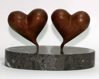 Double Heart Bronze Sculpture, heart bronze statue, wedding gift, anniversary gift, 19th anniversary, couples gift, love gift, abstract