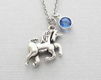 Unicorn Necklace, Mythical, Storybook, Fairy Tale Jewelry, Horse, BFF, Birthday Gift, Silver Jewelry, Swarovski Channel Birthstone Crystal