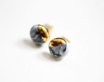 22k Gold Dipped Marbled Porcelain Studs - Marble Stud Earrings, Bridesmaids Gift, Porcelain Jewelry - porcelain earrings, Sensitive Ears