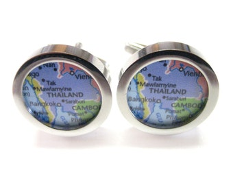Thailand Map Pendant Cufflinks