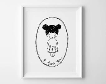 Nursery prints, baby shower, black and white print, i love you print, monochrome print, kids nursery art, nursery decor, boy nursery print