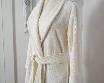 Vintage Stan Herman Glamorous White Chenille  Bathrobe