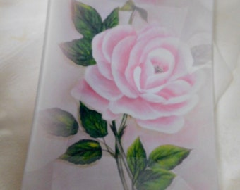 Blush Pink Large Glass Serving, Display Tray, Hand Painted Cottage Rose, Original Design, Collectible, ECS