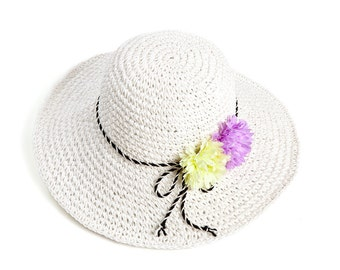 Straw hat for women , Sun hat , Floppy hat , decorated with pair of flowers.