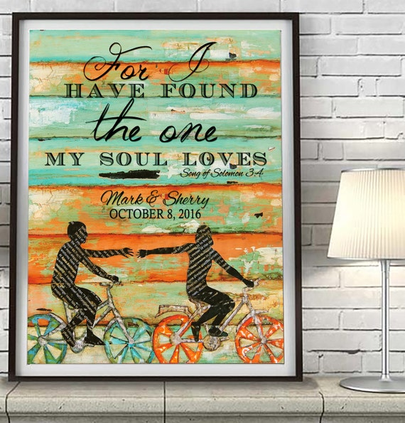 For I have found the one my soul loves -Song of Solomon 3:4 CUSTOMIZED PRINT or CANVAS Couple Bicycle Love, wedding christian bible verse