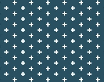 Plus fabric in dark blue - Dear Stella Ink Positive quilting cotton