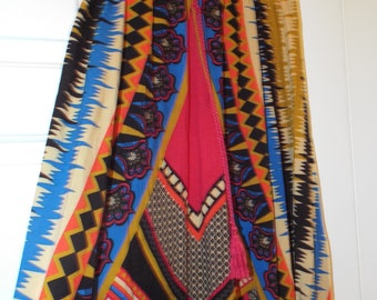 Vintage 90s Bold Colorful Maxi Skirt Women's Tribal Bohemian Hippie Long Flowing Skirt