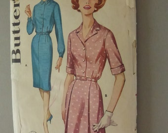 Vintage Butterick Pattern 2256  Shirtdress Size 18 1/2  Factory Fold