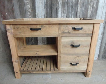 Tiffin -- Rustic Vanity With X-Brace on Side, Made to Order from Reclaimed Pine Barn Wood, Free Shipping