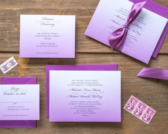 Orchid Wedding Invitation Suite - Double Thick Card Stock