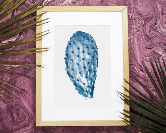 Cactus Succulent Cyanotype, Succulent Leaf on Watercolor Paper, Cactus Gift, Cactus Wall Art, Tropical Art, Cactus Poster (Limited Edition)