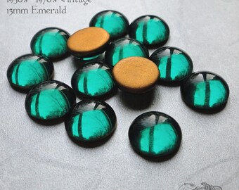 Vintage Cabochons - 13 mm Emerald - 6 West German Glass Stones