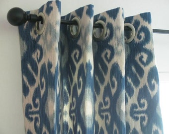 Blue Curtain Panel With Grommets Ikat Designer