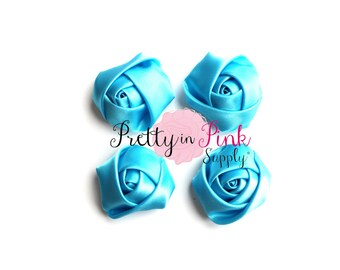 "Sky Blue Satin Rolled Rosettes Lot of 4...Rolled Rosettes...Mini Rolled Rosettes...1.5"" Rosettes"