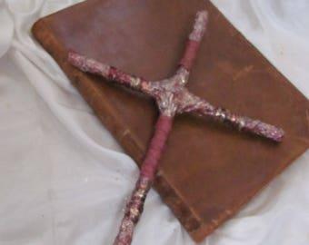 Cross Handmade Burgundy Metallic Embellished Cross // One of a Kind