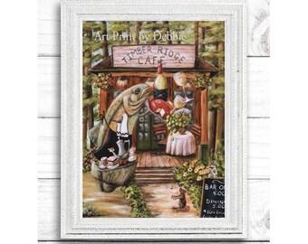 Rustic Fish Decor, Cabin Kitchen Art, Kitchen Print Fish, Lake Kitchen Print, Rustic North Woods Kitchen, 3 Sizes 8x10, 11x14, 16x20