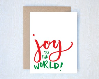 Joy to the World Christmas Holiday Card Letterpress Printed Handlettered Calligraphy Handlettering